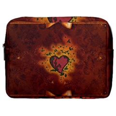 Beautiful Heart With Leaves Make Up Pouch (Large)