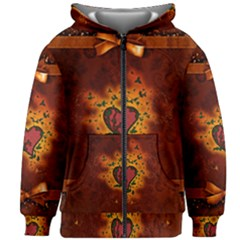 Beautiful Heart With Leaves Kids  Zipper Hoodie Without Drawstring