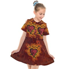 Beautiful Heart With Leaves Kids  Short Sleeve Shirt Dress