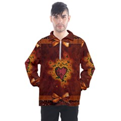 Beautiful Heart With Leaves Men s Half Zip Pullover