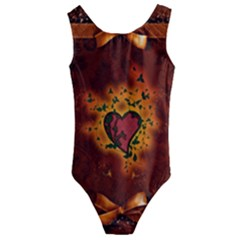 Beautiful Heart With Leaves Kids  Cut-Out Back One Piece Swimsuit