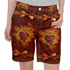 Beautiful Heart With Leaves Pocket Shorts