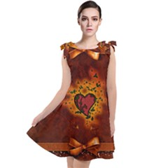 Beautiful Heart With Leaves Tie Up Tunic Dress