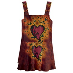 Beautiful Heart With Leaves Kids  Layered Skirt Swimsuit