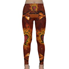 Beautiful Heart With Leaves Lightweight Velour Classic Yoga Leggings