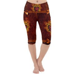 Beautiful Heart With Leaves Lightweight Velour Cropped Yoga Leggings