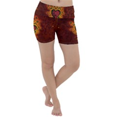 Beautiful Heart With Leaves Lightweight Velour Yoga Shorts