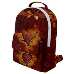 Beautiful Heart With Leaves Flap Pocket Backpack (Small)