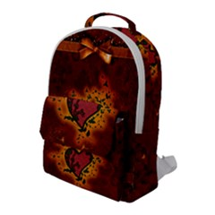 Beautiful Heart With Leaves Flap Pocket Backpack (large)