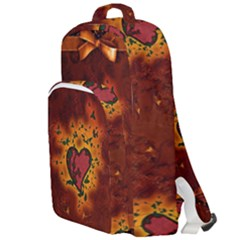 Beautiful Heart With Leaves Double Compartment Backpack