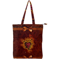Beautiful Heart With Leaves Double Zip Up Tote Bag