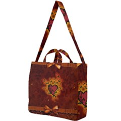 Beautiful Heart With Leaves Square Shoulder Tote Bag