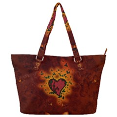 Beautiful Heart With Leaves Full Print Shoulder Bag