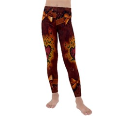 Beautiful Heart With Leaves Kids  Lightweight Velour Leggings