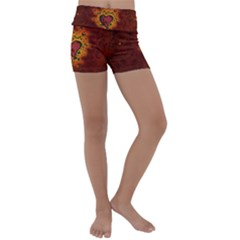 Beautiful Heart With Leaves Kids  Lightweight Velour Yoga Shorts