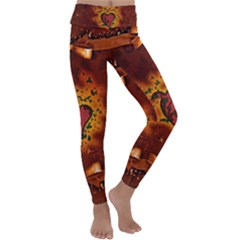 Beautiful Heart With Leaves Kids  Lightweight Velour Classic Yoga Leggings