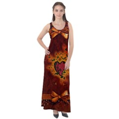 Beautiful Heart With Leaves Sleeveless Velour Maxi Dress