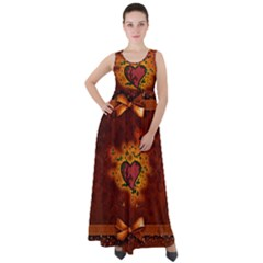 Beautiful Heart With Leaves Empire Waist Velour Maxi Dress