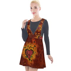 Beautiful Heart With Leaves Plunge Pinafore Velour Dress