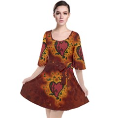 Beautiful Heart With Leaves Velour Kimono Dress