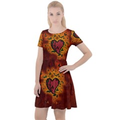 Beautiful Heart With Leaves Cap Sleeve Velour Dress