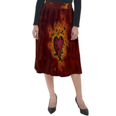 Beautiful Heart With Leaves Classic Velour Midi Skirt