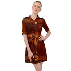 Beautiful Heart With Leaves Belted Shirt Dress