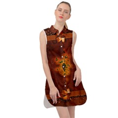 Beautiful Heart With Leaves Sleeveless Shirt Dress by FantasyWorld7