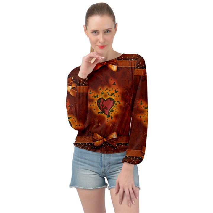 Beautiful Heart With Leaves Banded Bottom Chiffon Top