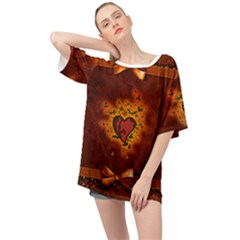 Beautiful Heart With Leaves Oversized Chiffon Top