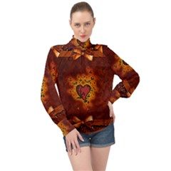 Beautiful Heart With Leaves High Neck Long Sleeve Chiffon Top