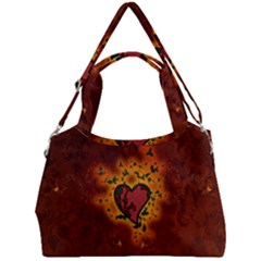 Beautiful Heart With Leaves Double Compartment Shoulder Bag