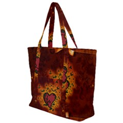 Beautiful Heart With Leaves Zip Up Canvas Bag