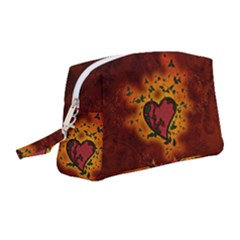 Beautiful Heart With Leaves Wristlet Pouch Bag (medium) by FantasyWorld7