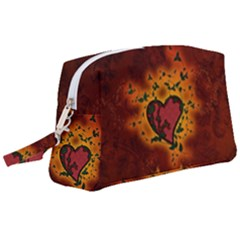 Beautiful Heart With Leaves Wristlet Pouch Bag (Large)