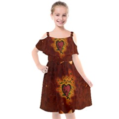 Beautiful Heart With Leaves Kids  Cut Out Shoulders Chiffon Dress by FantasyWorld7