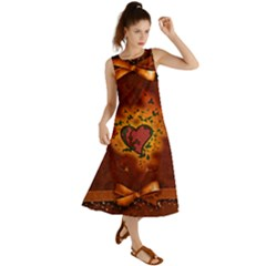 Beautiful Heart With Leaves Summer Maxi Dress
