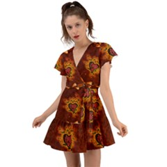 Beautiful Heart With Leaves Flutter Sleeve Wrap Dress