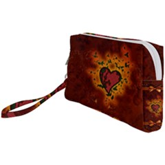 Beautiful Heart With Leaves Wristlet Pouch Bag (Small)