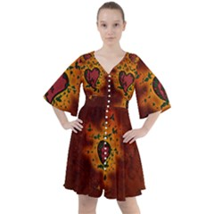 Beautiful Heart With Leaves Boho Button Up Dress
