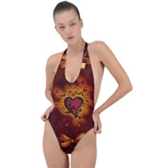 Beautiful Heart With Leaves Backless Halter One Piece Swimsuit
