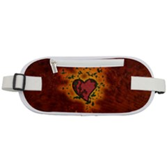 Beautiful Heart With Leaves Rounded Waist Pouch