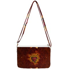 Beautiful Heart With Leaves Double Gusset Crossbody Bag
