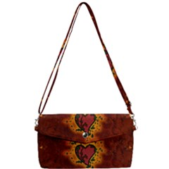 Beautiful Heart With Leaves Removable Strap Clutch Bag