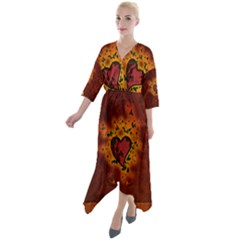 Beautiful Heart With Leaves Quarter Sleeve Wrap Front Maxi Dress