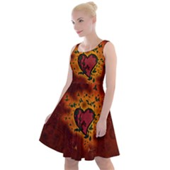 Beautiful Heart With Leaves Knee Length Skater Dress