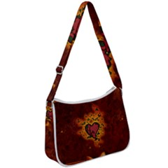 Beautiful Heart With Leaves Zip Up Shoulder Bag