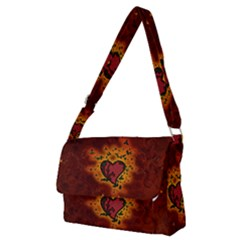 Beautiful Heart With Leaves Full Print Messenger Bag (M)