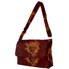 Beautiful Heart With Leaves Full Print Messenger Bag (L)