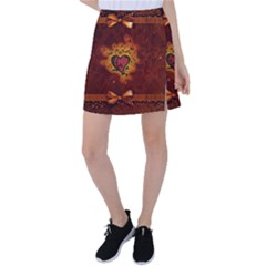 Beautiful Heart With Leaves Tennis Skirt